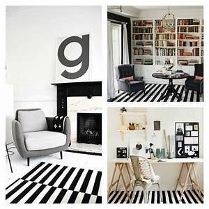 Tapis Geometrique Noir Et Blanc : tapis moderne rayures en noir et blanc ~ Teatrodelosmanantiales.com Idées de Décoration