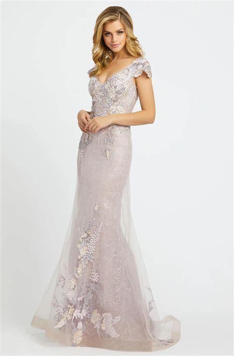 Mac duggal long sleeve sequin faux wrap gown. Mac Duggal Evening - 20144D Floral Appliqued V-Neck ...
