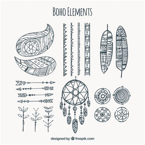 collection  hand drawn boho elements vector