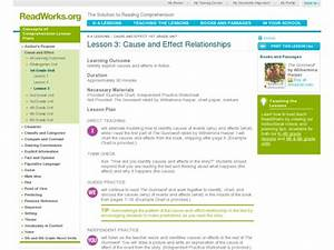 Lesson 3  Cause And Effect Relationships Lesson Plan For