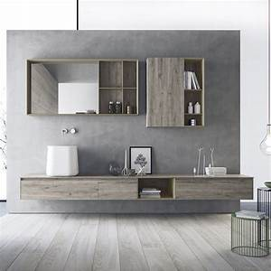 Made In Italy Wall Mount Bathroom Furniture Set Calix Novello