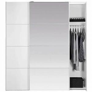 Armoire Blanche Miroir : armoire portes coulissantes verona blanche miroir 200x182x64 cm ~ Teatrodelosmanantiales.com Idées de Décoration