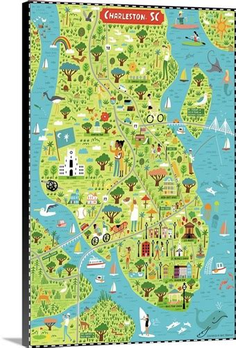 illustrated map  charleston sc wall art canvas prints