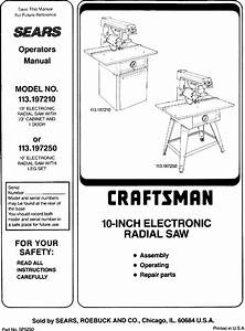 Craftsman 113197250 User Manual Radial Arm Saw Manuals And