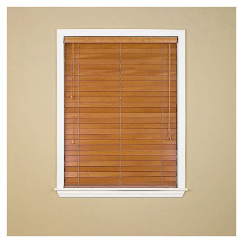 wood blinds lowes shop custom size now by levolor honey pine faux wood 2 in