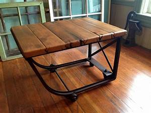 Reclaimed wood industrial coffee table by HammerHeadCreations