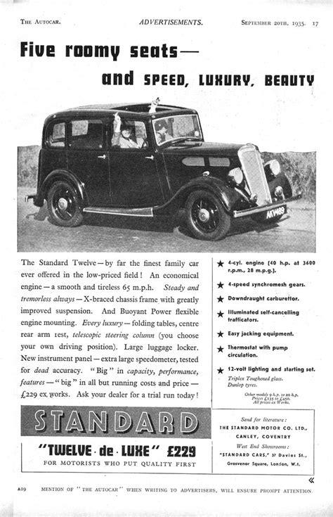Standard 12 Deluxe Motor Car Autocar Advert 1935