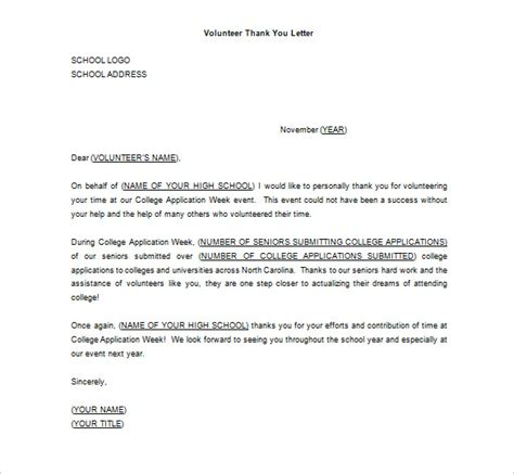 volunteer thank you letter 12 free word excel pdf