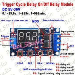 dc 5v 12v 24v digital led cycle timer delay turn on time relay switch module ebay
