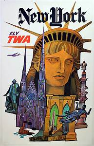 New York Poster : david klein original vintage travel poster advertising new york by twa david klein print ~ Orissabook.com Haus und Dekorationen