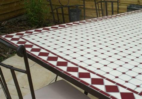 table de jardin ceramique et fer forge table jardin mosaique ovale 300cm table rectangle plus consoles c 233 ramique blanche et ses