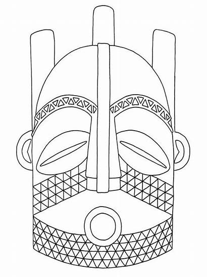 African Mask Masks Drawing Template Africa Afro