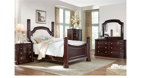 dumont cherry 7 pc king low poster bedroom