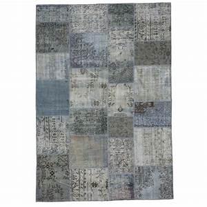 Teppich Grau Blau : grau blau vintage patchwork teppich 210x303cm ~ Indierocktalk.com Haus und Dekorationen