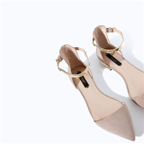 zara pointy shoes  ankle strap  natural lyst