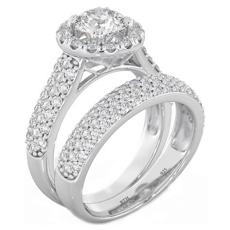 halo 2 925 sterling silver wedding engagement bridal ring