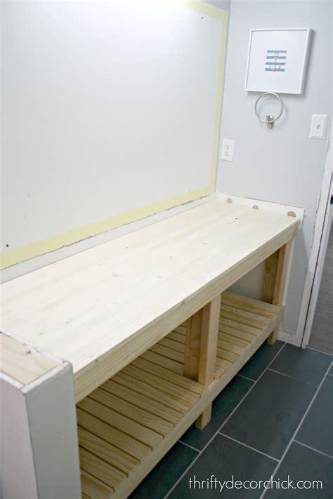 build  diy open bathroom vanity  thrifty decor