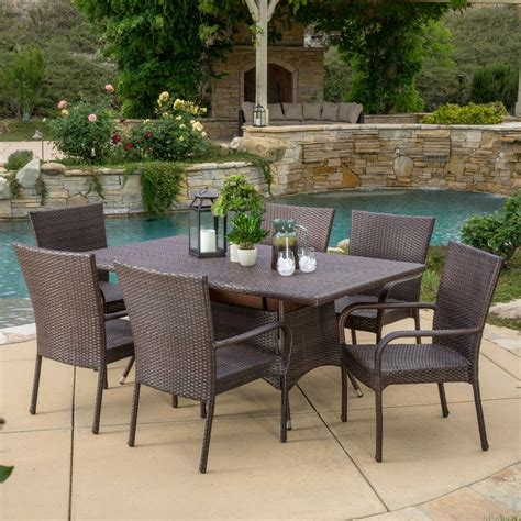 outdoor patio furniture 7pc multibrown all weather wicker dining ebay
