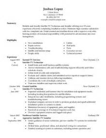Tv Resume Templates by Unforgettable Satellite Tv Technician Installer Resume