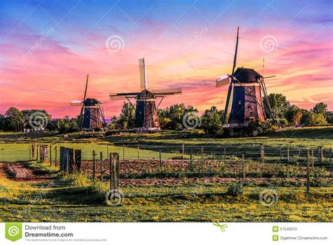 Warm And Calm Windmill Sunrise Royalty-free Stock