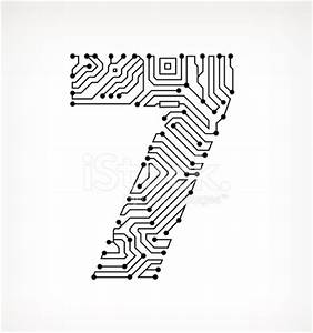 seven circuit board on white background stock vector With circuit board medic