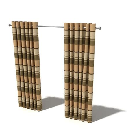 brown striped curtain panels brown striped curtains 3d model cgtrader
