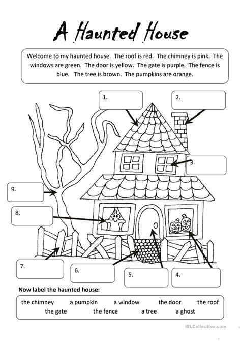 haunted house worksheet  esl printable worksheets