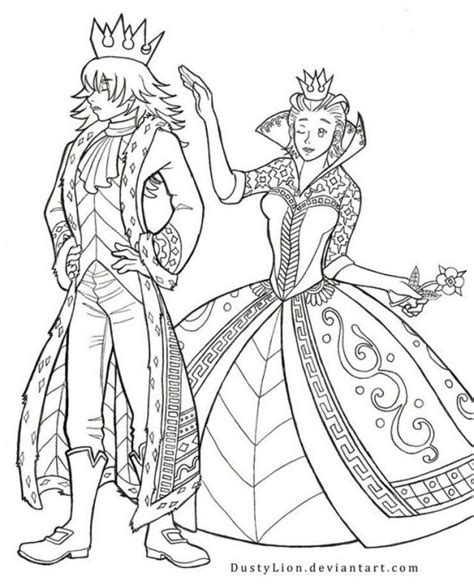 king  queen  hearts coloring sheet