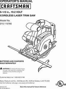 Craftsman 315115780 User Manual Cordless Laser Trim Saw