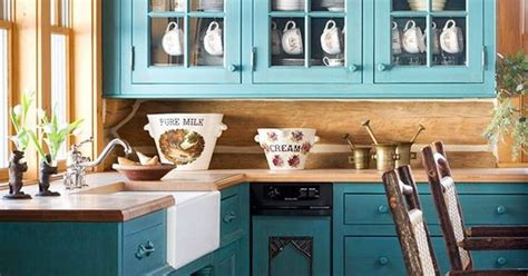 Rustic Teal Kitchen Cabinets by Teal Cabinets Rustic Look Kitchen Kitchen And