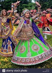 Girls In Traditional Attire  Practice The Garba Dance
