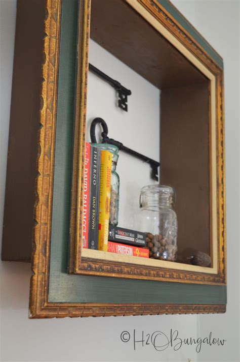 diy repurposed picture frame wall shelves hbungalow