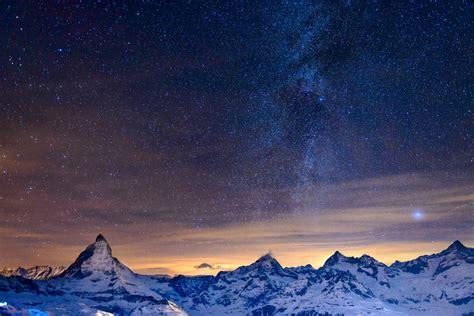 Night Mountain Alps Sky Star Milky Way Hd Wallpaper
