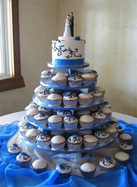 elegant cupcake wedding  cornflower blue roses