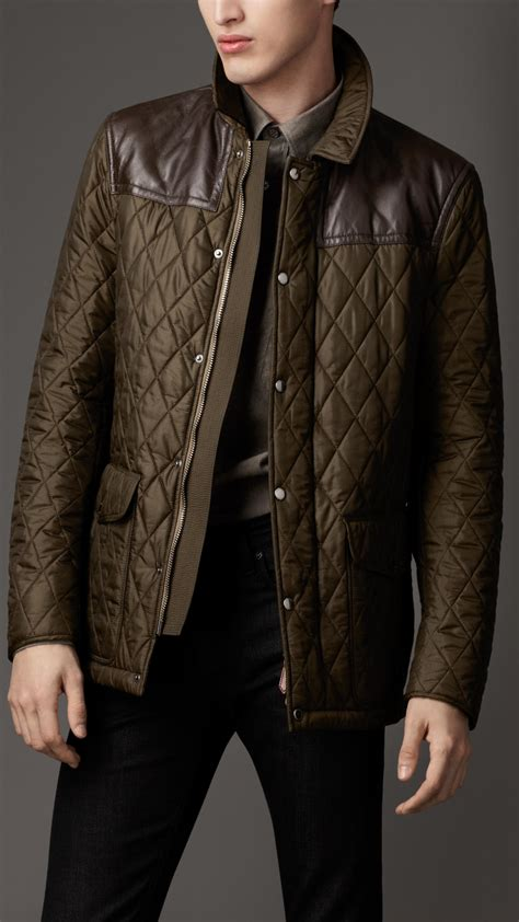 quilted jacket mens lyst burberry leather panel quilted jacket in green for