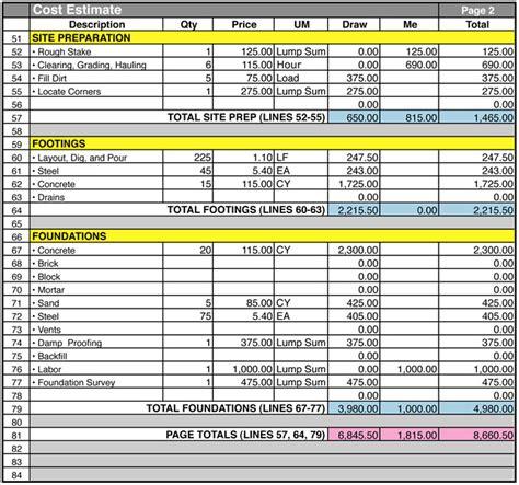 cost estimate home construction cost estimate sheet