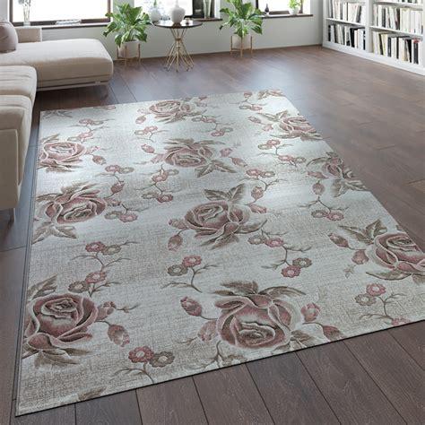 design vloerkleed bloemen pastel roze tapijt