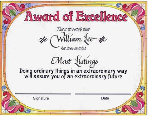 award certificates award  excellence certificate award