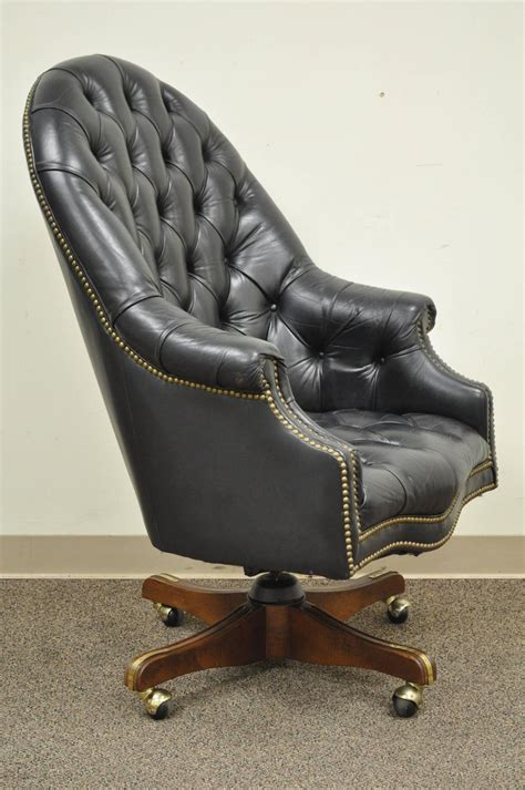 black leather desk chair vintage tufted black leather chesterfield