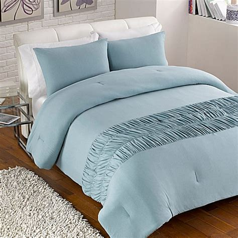 jersey rouched comforter set in turquoise bed bath beyond