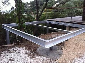 structure acier pour support terrasse ferronnerie hyeres With terrasse en acier galvanise