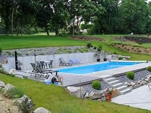 construire piscine enterree sur terrain en pente With piscine a debordement sur terrain en pente
