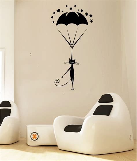 wall and decor wall art designs cat wall art hoopoe decor cat landing with parachute wall arts wall stickers