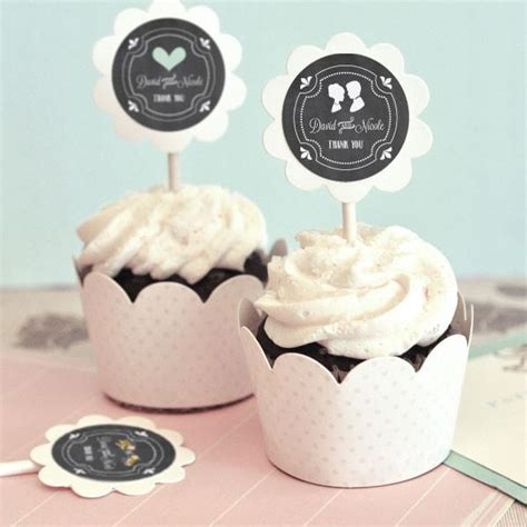 custom chalkboard wedding cupcake wrappers  cupcake