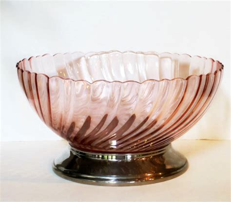 large pink glass bowl vintage arcoroc france swirled by