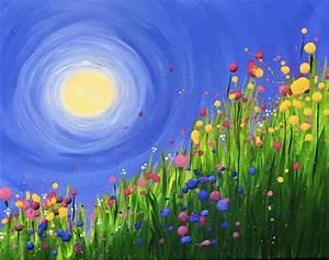 Pretty wildflowers and swirled sun beginner painting idea ...