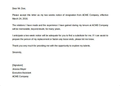 Two Weeks Notice Template 40 Two Weeks Notice Letter Templates Free Pdf Formats