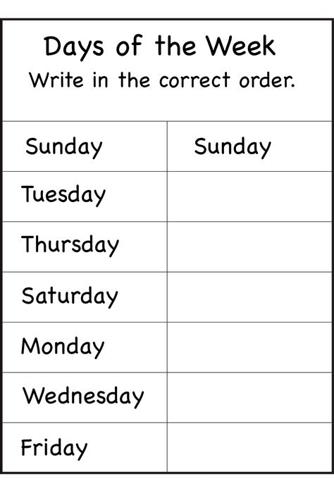 days   week worksheets activity shelter