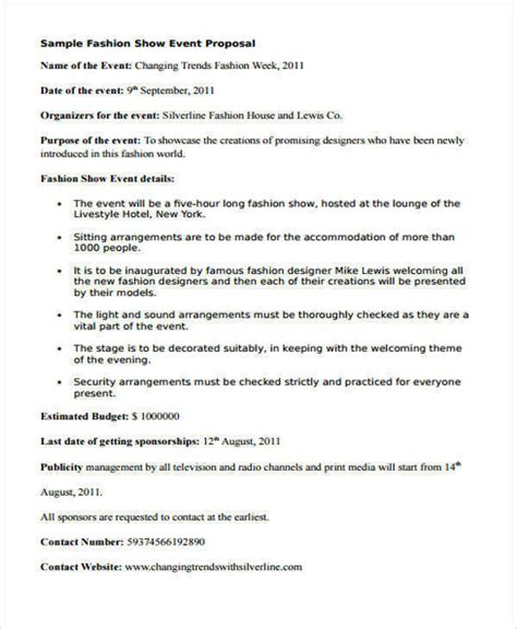 event proposal samples templates word  pages