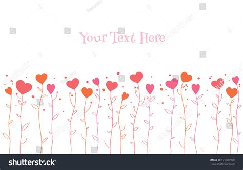 border hearts growing  stalks simple stock vector